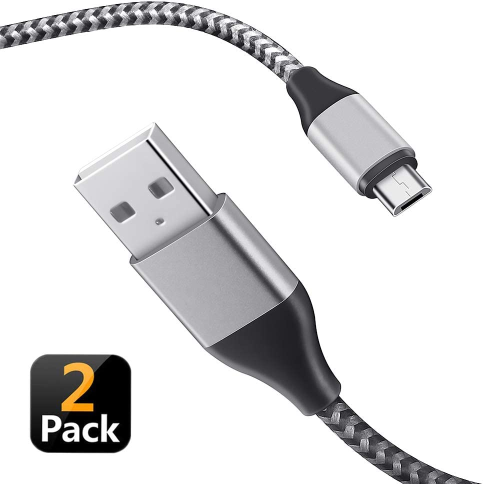 Micro USB Cable,2-Pack 6.6Ft Fast Charging Android Nylon Braided Charger Cords Compatible LG K40/K20 V/K10/K7/V10,Q6 G4 G3 G2,LG Stylus 3/ Stylo 3 Plus/Stylo 2,LG G Vista 2,Tribute HD/Flip/Fortune
