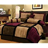 7 Piece Burgundy Brown Black Bed in a Bag Micro Suede King Comforter Set with accent pillows