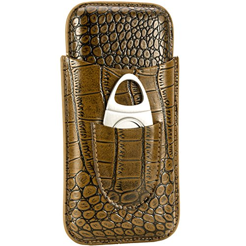 XIFEI crocodile skin texture leather cigar case travel - pure manual cigar box - cutter Included (for 3 cigar) by XIFEI