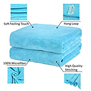 "Jml Bath Towel, Microfiber 2 Pack Towel Sets (30"" x 60"") - Large Size, Extra Absorbent, Quick Drying & Antibacterial, Multipurpose Use as Bath Fitness Towel, Sports Towels, Yoga Towel, Aquamarine"