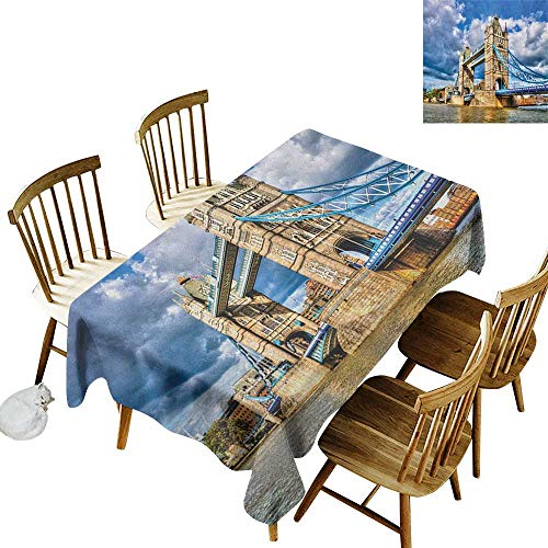 kangkaishi Easy to Care for Leakproof and Durable Long tablecloths Outdoor Picnic Historical Tower Bridge on River London UK British Day Time International Heritage W60 x L84 Inch Multicolor