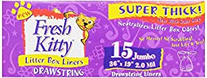 Fresh Kitty 15ct Super Thick Jumbo Drawstring Litter Box Liners