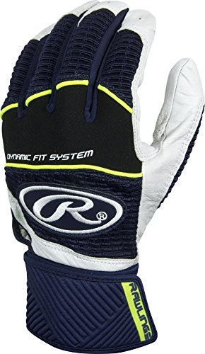 Rawlings  Workhorse Adult Batting Gloves with Compression Strap, Medium, Navy