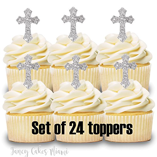 24 Cupcake Toppers SILVER CROSS BAPTISM COMMUNION CONFIRMATION WEDDING ()
