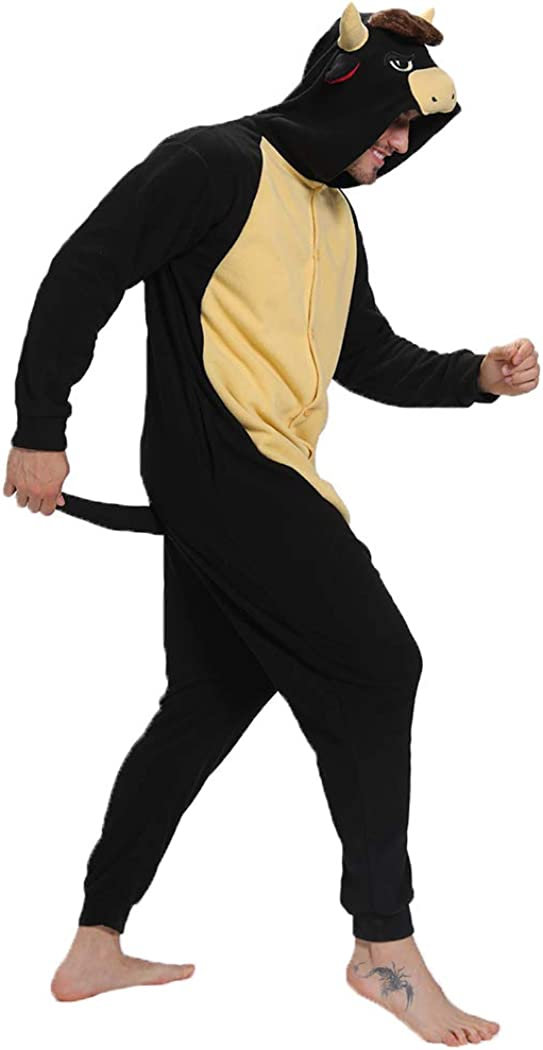 FORLADY Animal Black Bull Onesie Adult Women Men Animal Cosplay Costume Halloween Pyjamas Homewear
