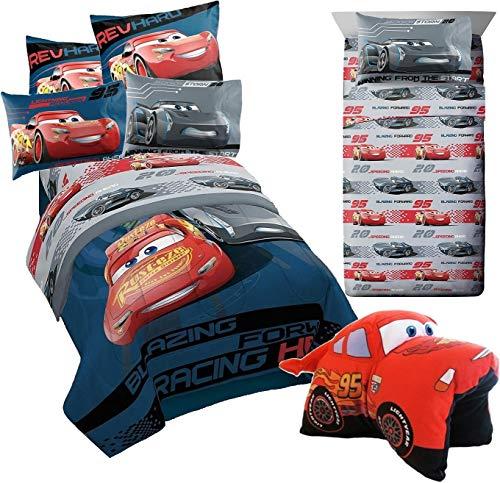 Franco Disney Cars 3~6pcs Twin Size Comforter Set (Comforter, Pillow Sham & 3pc Sheet Set) + Lightning McQueen Plush - Cars Twin Bedding