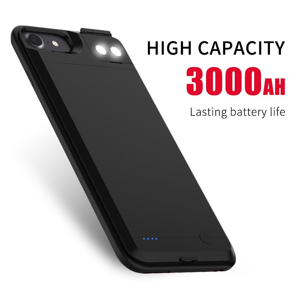 Uverbon iPhone 6/6s Battery Case, 3500mAh 4.7 iPhone 6/6S Protective Battery Case with Dual Led Fill Light -Black