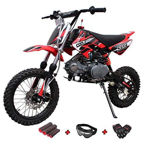 X-Pro 125cc Dirt Bike Pit Bike Gas Dirt Bikes Adult Dirt Pitbike 125cc Gas Dirt Pit Bike with Gloves, Goggle and Handgrip (Black)
