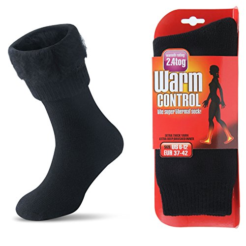 Womens Socks Thermal (Womens Men Winter Warm Wool Pile Lined Insulated Thermals Socks Thick Boots Heat Socks Cold Weather (Black, M/Mens 4-8; Womens 6-12))