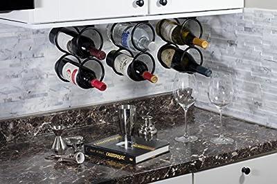WALLNITURE Under Cabinet Durable Iron Vertical Wine Storage Rack for Liquor Bottles Black