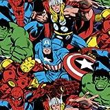 Marvel–0,5m–Marvel en tissu kawaii en tissu blanc–sc039–par ressorts Creative–100% coton (Marvel Hulk)