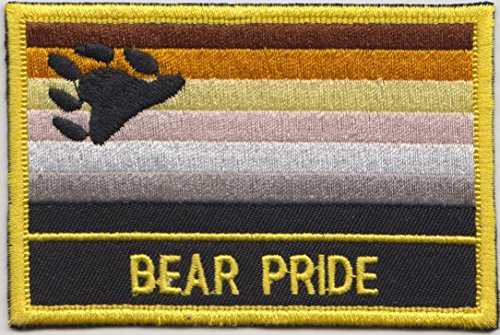 Bear Pride LGBT Rainbow Flag Embroidered Rectangular Patch Badge (Bear Flag Patch)