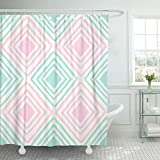 Pink Green Stripe Shower Curtain PAUSEBOLL Pattern Shapes in Pastel Pink and Mint Green Shower Curtain Bathroom with Hooks,Mildew Resistant Waterproof Polyester Curtain