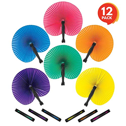 ArtCreativity 10 inch Colorful Folding Fans - Pack of 12 - Cool Summer Contraption - Handheld Paper Fan with Plastic Shafts - Hot New Party Favor and Prize - Fun Novelties and Gifts for Kids Ages 3+]()