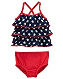 Carter's Baby Girls' Tankini American Flag Swimsuit (24 Months, Red/White/Navy)