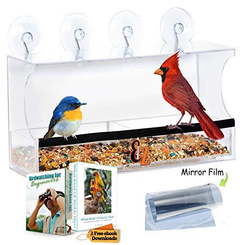 Window Bird Feeder - Bird Feeders for Outside w/ Easy Lift Bird Seed Tray, 2 Way Mirror Film & Strong Suction Cup Mount - Also Use as Bird Bath, Bird House, Garden Décor, Perfect Gifts for Women & Men