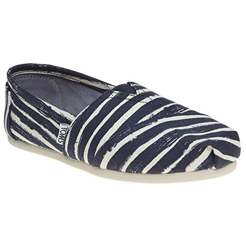 Toms Women's 10009721 Painted Stripe Alpargata Flat, Navy, 5 M US