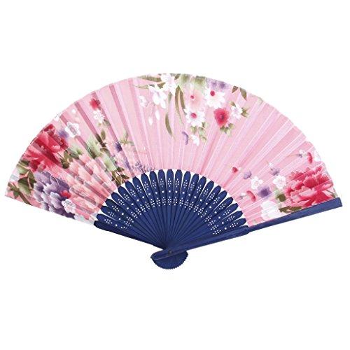Hand Fan Folding Fan Pocket Fan (Flowers Spun Pink)