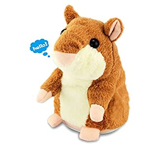 Talking Hamster Repeats What You Say Electronic Pet Talking Plush Toy Buddy Mouse for Kids, 3 x 5.7 inches