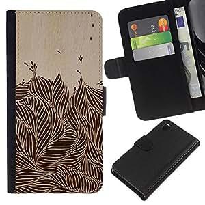 KLONGSHOP // Tirón de la caja Cartera de cuero con ranuras para tarjetas - Tinta Vintage Brown Negro Follaje - Sony Xperia Z3 D6603 //