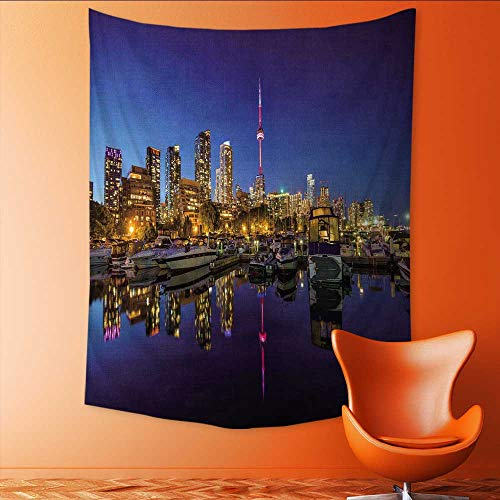 Auraisehome Vertical Version Tapestry Toronto City Skyline Marina Quay west Ontario Toronto Canada Throw, Bed, Tapestry, or Yoga Blanket 70W x 93L ()