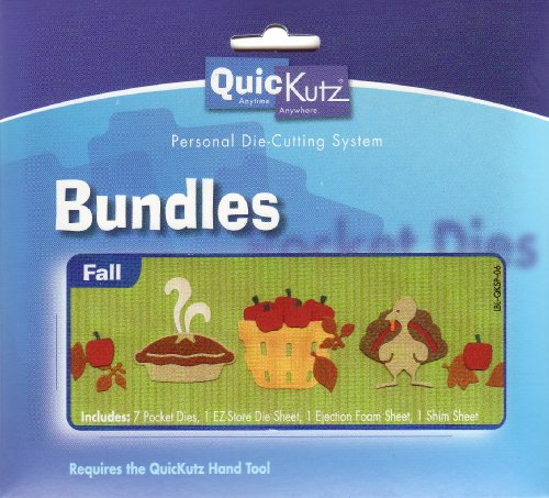 Quickutz Leaves - Quickutz Fall Bundle includes Mini Apple, Mini Leaves, Pie, Basket and Turkey, Retired, Discontinued
