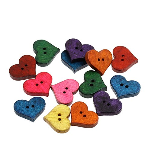Heart Sewing - HOUSWEETY 100PCs Wood Sewing Buttons Heart-shaped Scrapbooking Mixed 20mm x16.5mm