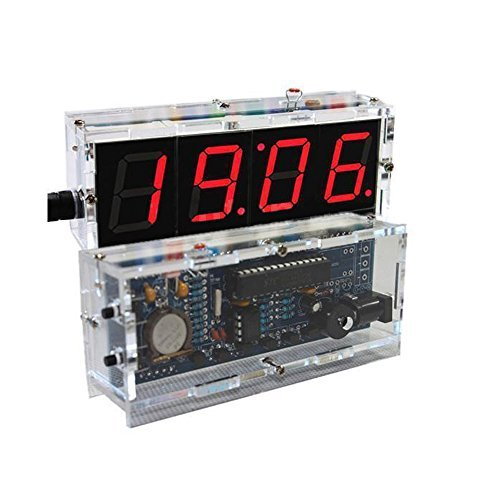 DIY Electronic 4 Digit Large Screen LED Clock Kit Temperature Display Red inventor Learning Electronic Kit Toy UI8
