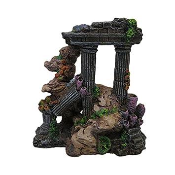 TOOGOO Resina de Simulacion Columna Romana Decoraciones Acuario Tanque de Peces Ruinas de la Roca Plantas Decoracion Decoracion del Acuario Adornos: ...