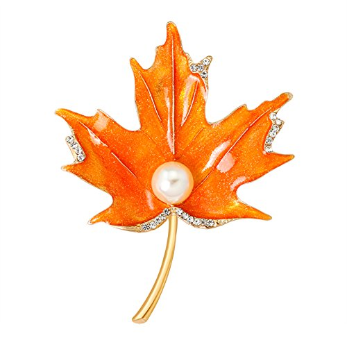 Afco Delicate Oil Painted Faux Pearl Maple Brooch Pin Women Clothes Decor ()