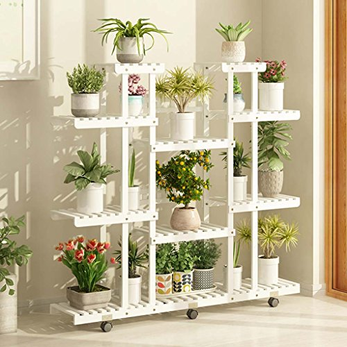 Smc Stand - SMC Flower Stand Solid Wood Flower Shelf Multi-Layer Indoor Balcony Space Saving Shelf Living Room Flower Pot Holder Green Radish Plant Stand White Four Floors (Size : with wheels)
