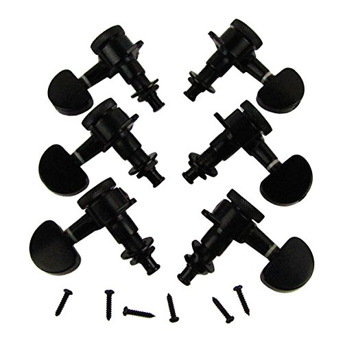 Musiclily 3+3 Guitar Locking Tuners Tuning Keys Pegs Machine Head Set Guitar Parts, Half Moon Button Black (Repair Parts Individual)