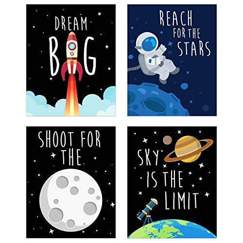 Space Kids Nursery Bedroom Decor - Set of Four 8x10 Prints - Cute Inspirational Wall Art Decoration for Boys and Girls]()