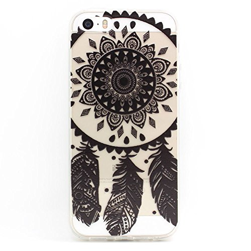 JIAXIUFEN TPU Coque - pour Apple iPhone 5 5S Silicone Étui Housse Protecteur - Henna Black Ojibwe Dreamcatcher Tribal Dream Catcher