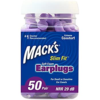 Mack's Slim Fit Soft Foam Earplugs, 50 Pair - Small Ear Plugs for Sleeping, Snoring, Traveling, Concerts, Shooting Sports and Power Tools