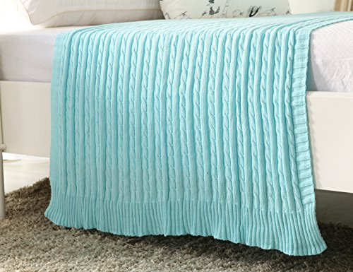 iSunShine® Cotton Knitted Cable Throw Soft Warm Cover Blanket Cable Knitting Pattern, 43*70 Inches, Turquoise