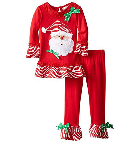 Qisen Little Girls Christmas Clothes Santa Claus Christmas Costumes 2 Piece (Christmas Costume For Toddler)