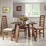 GrayWood Sheesham Wooden Dining Table Set With 4 Chairs   Balcony Table Chair Set   Coffee Table   Natural Honey Finish