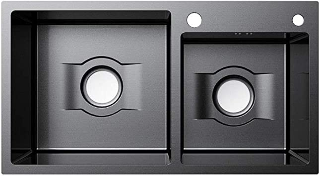 Sink built in basin 820mm*450mm Multi-function Kitchen Sink Double Bowl  60/40 Basin, Black Stainless Steel Slot Table (Size : D-5): Amazon.co.uk:  DIY & Tools