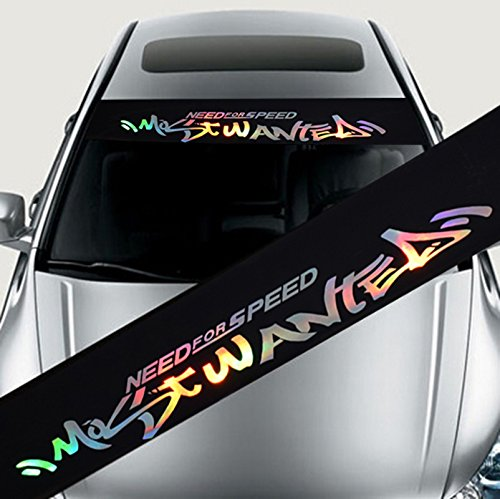 Cheng-store 8'' X 52'' Car Laser Reflective Vinyl Sticker, Cool Graffiti Sign Stickers Vehicle Accessories, Windshield Car Decor Most Wanted Need for Speed Banner Strip