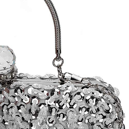 UBORSE Women Wedding Clutch Rhinestone Bling Sequin Evening Bags Vintage Crystal Beaded Cocktail Party Party Purse Silver by UBORSE (Image #7)
