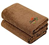 2 Pack Microfiber Bath and Beach Towel for Pets by- Scrub It - Super Absorbent and Quick Drying - Perfect for Large, Medium, Small Dogs and Cats