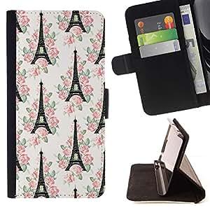 For Samsung Galaxy S4 Mini i9190 (NOT S4) Case , Torre París Francia Europa floral blanca- la tarjeta de Crédito Slots PU Funda de cuero Monedero caso cubierta de piel