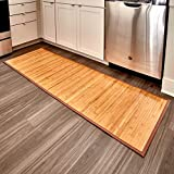 iDesign Formbu Bamboo Floor Mat Non-Skid, Water-Resistant Runner Rug for Bathroom, Kitchen, Entryway, Hallway, Office, Mudroom, Vanity , 72