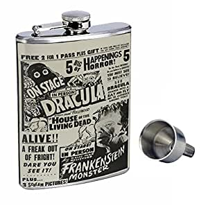 Perfection In Style 8oz Stainless Steel Whiskey Flask with Free Funnel D-038 Vintage Horror Show Ad