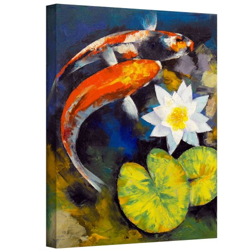 ArtWall Michael Creese 'Koi Fish And Water Lily' Gallery-Wrapped Canvas, 18 by 24-Inch