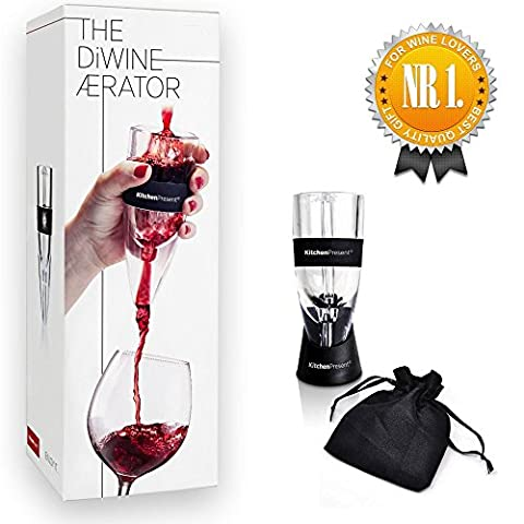 Wine Aerator Pourer, Decanter Spout - Essential Accessory for Aerating Red Wines - Premium Gift for Wine Lovers - Comes with No-drip Stand & Carrying Pouch - In a Perfect Quality Presentation - Reserve Merlot Red Wine