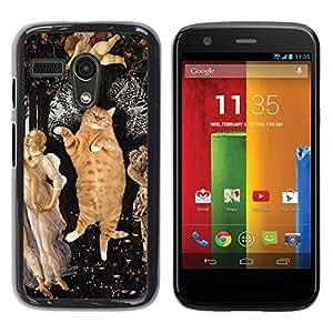 YiPhone /// Prima de resorte delgada de la cubierta del caso de Shell Armor - Orange Fat British Shorthair House Cat - Motorola Moto G 1 1ST Gen I X1032