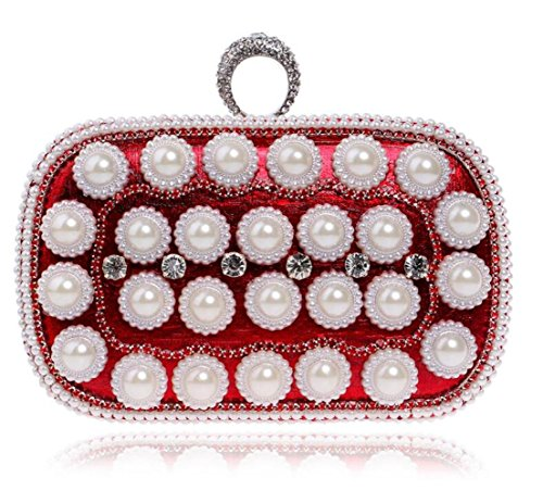 Femmes À Main Sac Nuptiale Bandoulière Sac À Antique Red Sac Mariage Diamante De Glitter À Clubs Pochette Prom Cadeau Enveloppe Dames Party Perle Soirée Main Pour 6qOtrT6x