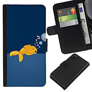 KLONGSHOP // Tirón de la caja Cartera de cuero con ranuras para tarjetas - Gold Fish Wild gratuitas de Ocean Swim Burbujas Arte - Sony Xperia Z3 D6603 //